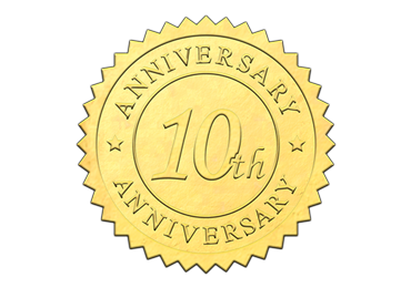 Gold 10th Anniversary Seal