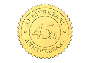 Gold 45th Anniversary Seal